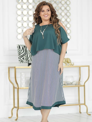 Платье изумрудного цвета в полоску | 5464312