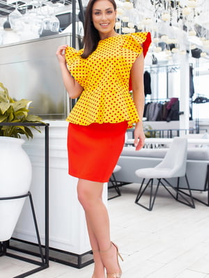 Блуза жовта в горошок | 5464395