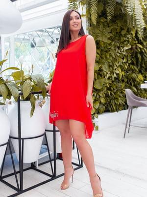 Сукня червона з декором | 5464401