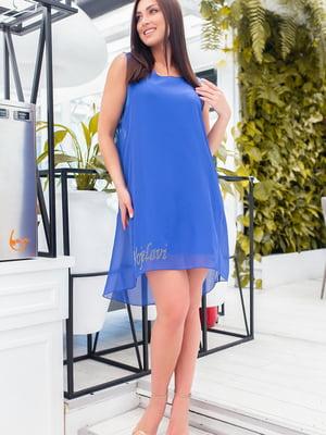Сукня кольору електрик з декором | 5464404