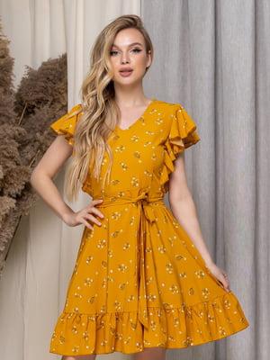 Сукня гірчичного кольору в квітковий принт | 5464427