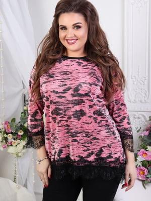 Блуза розовая в принт | 5464115