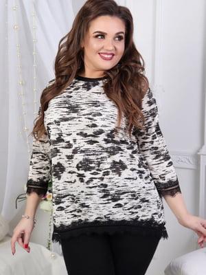 Блуза черно-белая в принт | 5464116