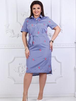 Платье синее в цветочный принт | 5464123