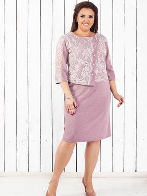 Сукня кольору пудри з декором   5464131