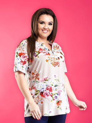 Блуза бежевая в цветочный принт | 5464132