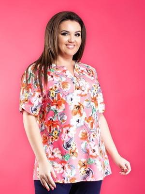 Блуза розовая в цветочный принт | 5464133