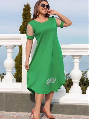 Сукня зелена з декором | 5464135