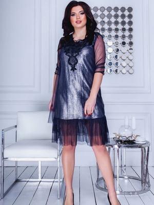 Сукня синя з декором | 5464145