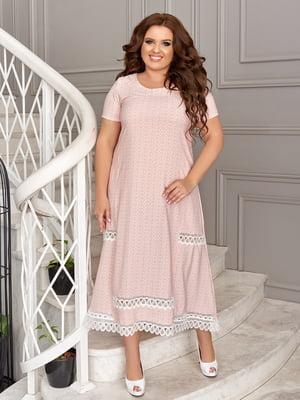 Платье цвета пудры в принт | 5464150