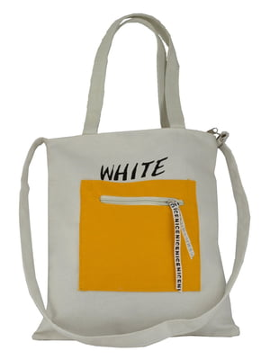 Сумка-шоппер белая в принт | 5464504