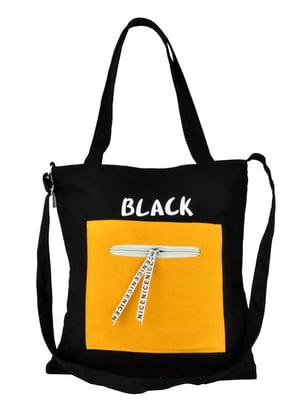 Сумка-шоппер черная в принт | 5464506