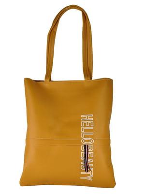 Сумка-шоппер желтая в принт | 5464523