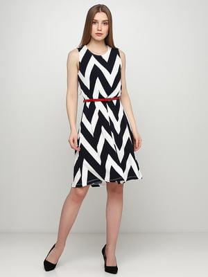 Сукня двоколірна в принт | 5465029