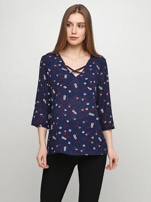 Блуза синя в квітковий принт | 5465030