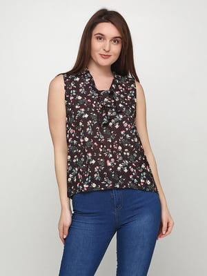 Блуза чорна в квітковий принт | 5465031