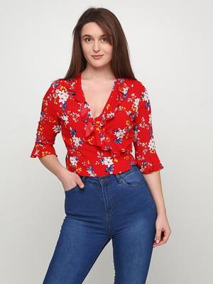 Блуза червона в квітковий принт | 5465036
