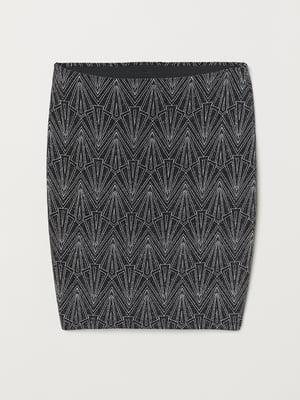 Юбка черно-серебристого цвета в узор | 5460380