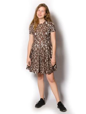 Платье коричневое в узор | 5465272