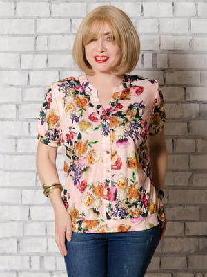 Блуза розовая в принт | 5465277