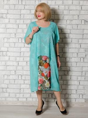 Платье бирюзовое в принт | 5465279