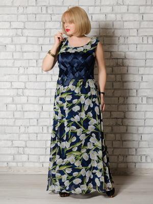 Платье синее в принт | 5465284