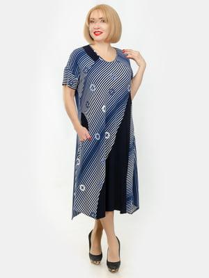 Платье сине-голубое в принт | 5450766
