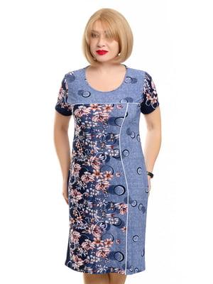 Сукня блакитна у принт | 5450768