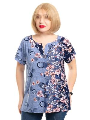 Блуза блакитна в принт | 5450771
