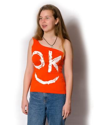 Майка оранжевая в принт | 5465263