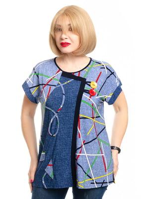 Блуза голубая в принт | 5450769