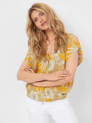 Блуза горчичного цвета в принт | 5466158
