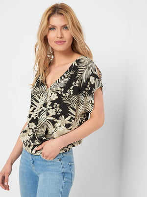 Блуза черная в принт | 5466159