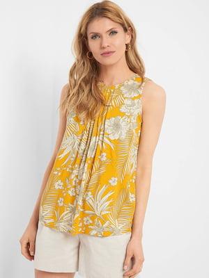Блуза горчичного цвета в принт | 5466161