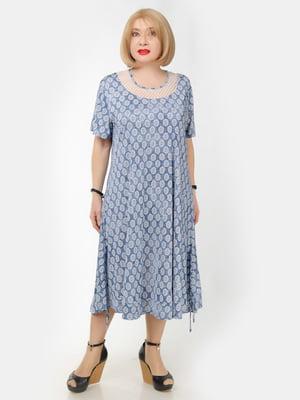 Платье синее в принт | 5466776