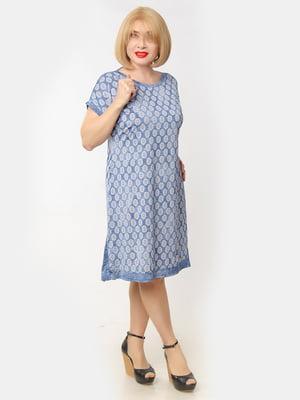 Платье синее в принт | 5466777