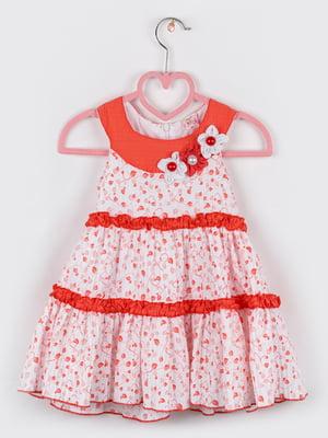 Сукня біло-коралового кольору з принтом | 5461353