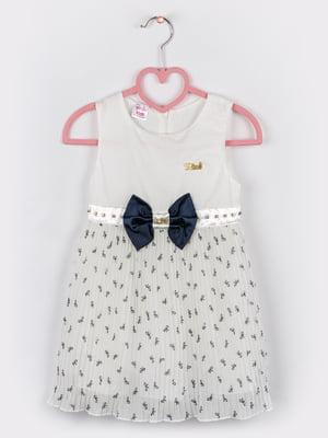 Сукня молочно-синього кольору з принтом   5461333