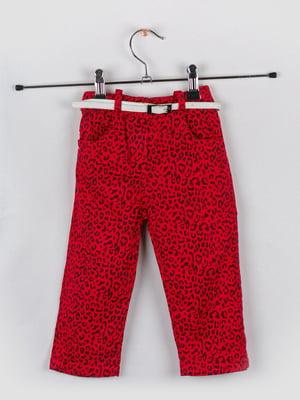 Штани червоні у принт | 5461322