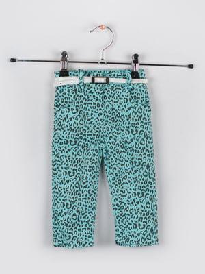 Штани бірюзового кольору в принту | 5461323