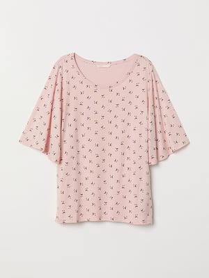 Блуза для кормящих розовая с рисунком | 5471812