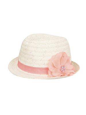 Панама рожево-бежева з декором | 5158096