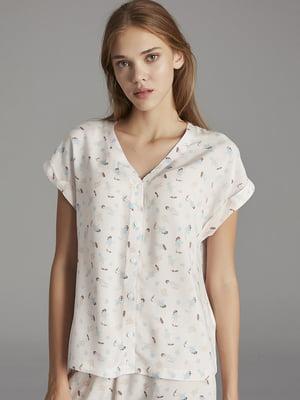 Рубашка пижамная белая в принт | 5444831