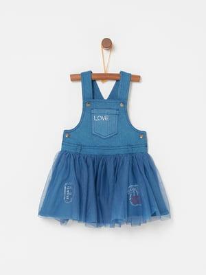 Сарафан синий с декором | 5161721