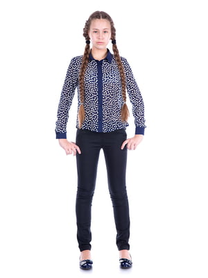 Блуза синяя в горох | 5472348