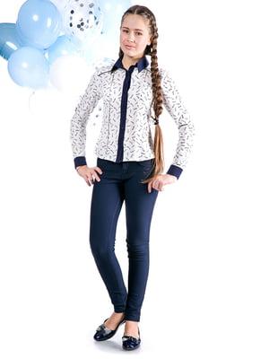 Блуза белая с принтом   5472349