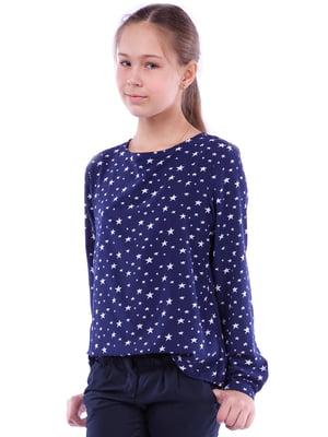 Блуза синяя с принтом   5472352