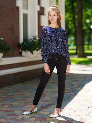 Блуза синяя с принтом   5472353