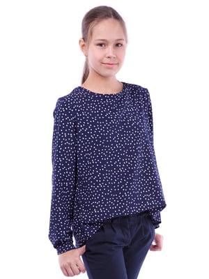 Блуза синяя с принтом   5472354