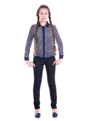 Блуза синяя в горох   5472361